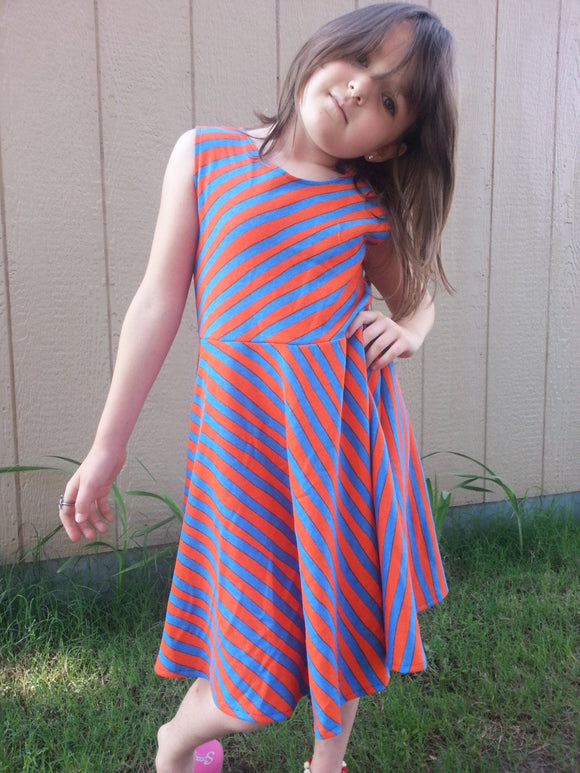 Little Girls Original Handmade Cotton Sleeveless Knee Length Dress - Royal Blue and Orange Stripe - Amari 3082