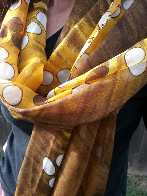 Chocolate Brown and Yellow Polka Dot Large Silky Chiffon Scarf Wrap - Otto H806