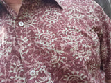Ethnic Men's Hand Block Printed Indian Woven Cotton Short Sleeve Button Down Pocket Shirt - Mauve Floral XL -  Elias H817