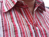 Striped Men's Handmade Cotton Long Sleeve Button Down Pocket Shirt - Red Stripe - Size Large -  Matthew H821