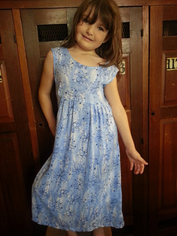 Little Girls Original Handmade Cotton Sleeveless Knee Length Long Dress - Blue Sparkle - Galaxie 3093