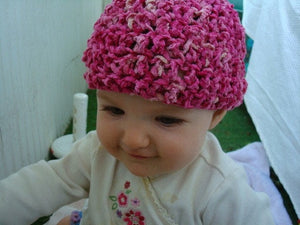 Hand Painted Rayon Chenille Baby Girls Beanie Hat - Heartfelt 321