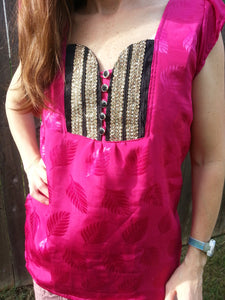 Women's Handmade Sari Silk Decorative Chest Short Sleeve Lined Blouse Summer Shirt - Hot Pink and Black - Avery H812