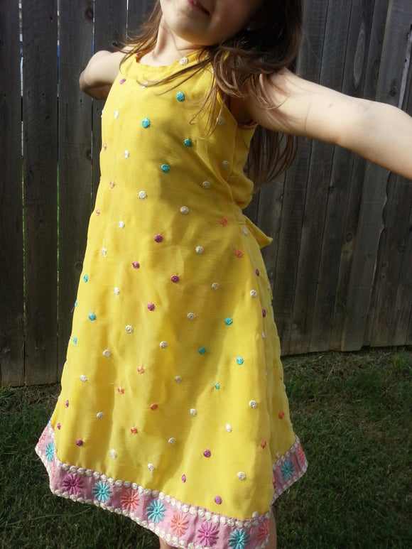 Toddler and Little Girls Lined Sleeveless Sari Silk Dress - Sunshine Yellow with Pastel Embroidered Dots - Cotton Candy 3094