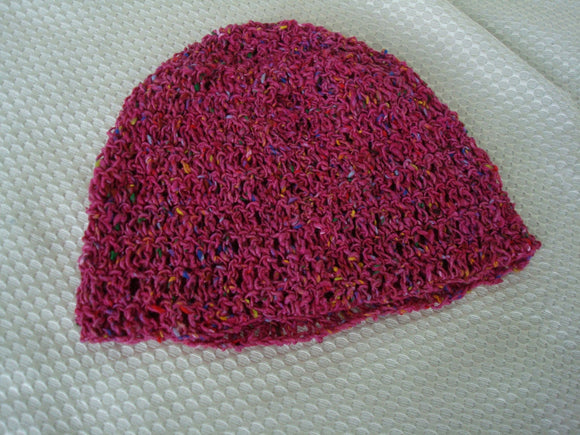 Multicolored Crocheted Silk Blend Girls Lightweight Fashion Hat - Raspberry 389
