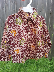 Toddler Boys Long Sleeve, Ethnic Indian Cotton Hand Block Print Button Down Shirt - Father Son Matching - Burgundy Floral - Lachlan 3085