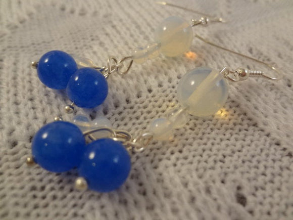 Genuine Blue Opal and Jade Ball Handmade Dangle Earrings - October Birthstone - Vivienne G106