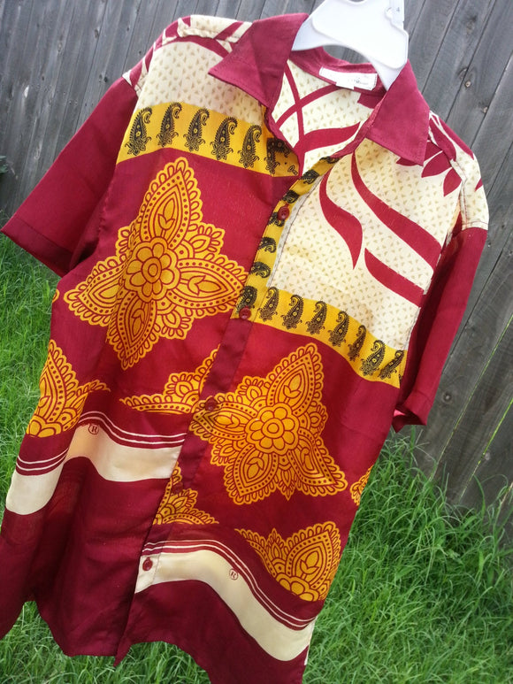 Youth Boys Short Sleeve, Ethnic Indian Sari Silk Button Down Shirt - Burgundy Ivory Floral - Sigge 3092