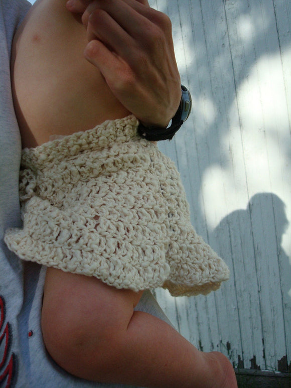 Eco Baby - Organic Cotton Toddler Girls Crocheted Mini Skirt - Natural 362