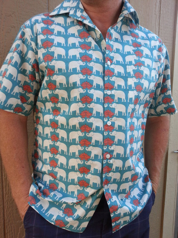 Men's Handmade Organic Cotton Button Down Dress Shirt - White Elephants on Teal - Size Large - Tembo I976