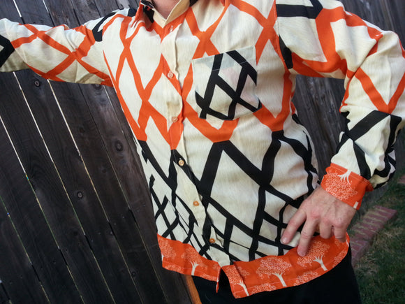 Long Sleeve, Fully Lined Men's Handmade Sari Button Down Retro Look Dress Shirt - Orange and Black Diamonds - Dokkum H862