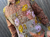 Long Sleeve, Fully Lined Men's Handmade Sari Material Button Down Dress Shirt - Olive and Lavender Floral - Size Large - Roubaix H856