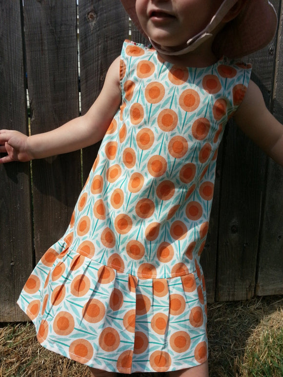 Toddler Girls Organic Cotton Summer Dress - Orange and Teal Floral - Poppy 3111