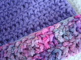 Toddler Girl's Crocheted Hat and Mitten Set in Vintage Purple with Cotton Trim - 419