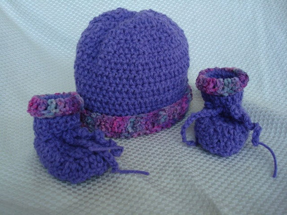 Baby Girl's Hat and Bootie Set - Vintage Purple with Hand Dyed Brim - 420
