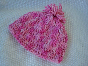Baby Girl's Cozy Cotton Tassle Hat of Handpainted Cotton - Pink 416