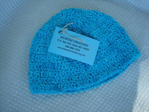 Stretch Knit Toddler Girl's Hand Dyed Cotton Beanie Hat - Turquoise 413