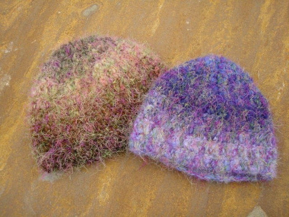 Fraternal Twins Soft Crocheted Matching Baby Hat Duo - Fading Purple and Brown 439