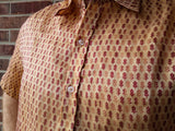 Short Sleeve Men's Handmade Woven Indian Sari Silk Lined Button Down Dress Shirt - Ivory with Burgundy Floral - Size Large - Geneva H843