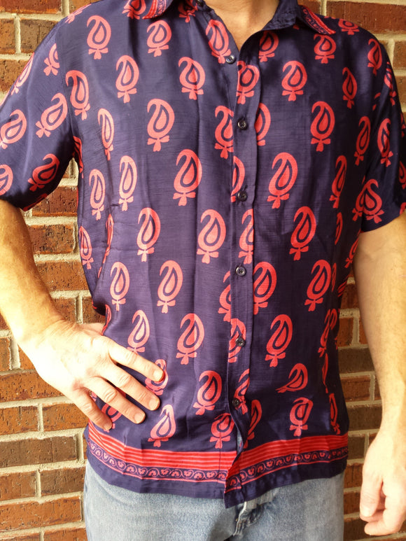 Handmade Sari Silk Men's Short Sleeve Button Down Dress Shirt - Navy Blue with Pink Red Accents - Size Large -Sevilla H840
