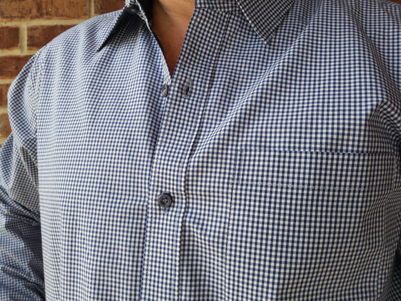 Big and Tall Men's Handmade Cotton Long Sleeve Button Down Formal Pocket Shirt - Blue Gingham- Wilson H822
