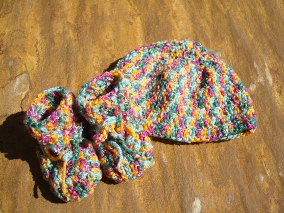 Handmade Crochet Wool Blend Hat and Bootie Set - Gender Neutral - Harvest 459