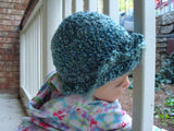 Precious Toddler Girl's Bonnet Hat with Bow Tie - Blue Green 485