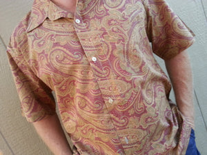 Big and Tall Men's Handmade Indian Print Woven Cotton Short Sleeve Button Down Chest Pocket Shirt - Mauve and Tan Paisley - Salazar H846