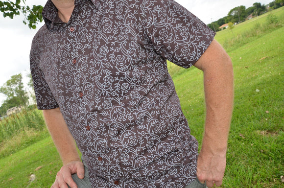 Brown Lightweight Men's Hand Block Printed Indian Woven Cotton Short Sleeve Button Down Pocket Shirt - XL - Remington I865
