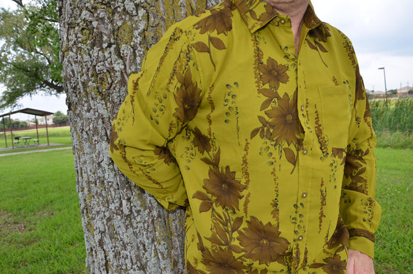 Olive Men's Handmade Lined Sari Material Long Sleeves Button Down Dress Shirt - Med or Large -  Sidney I899