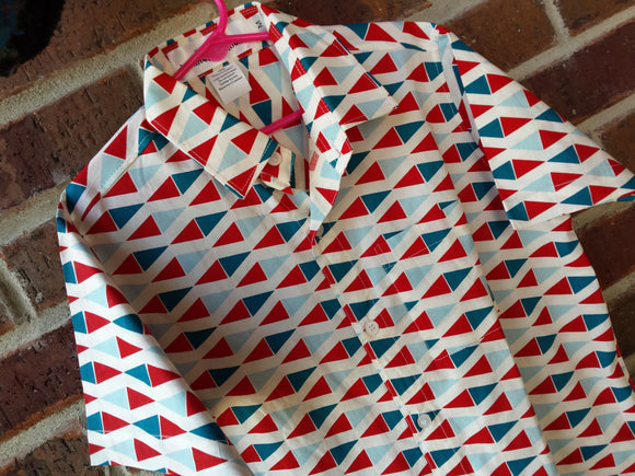 Youth Boys Handmade Organic Cotton Button Down Dress Shirt - Birch Red and Blue Diamonds Geometric - Marin 3101