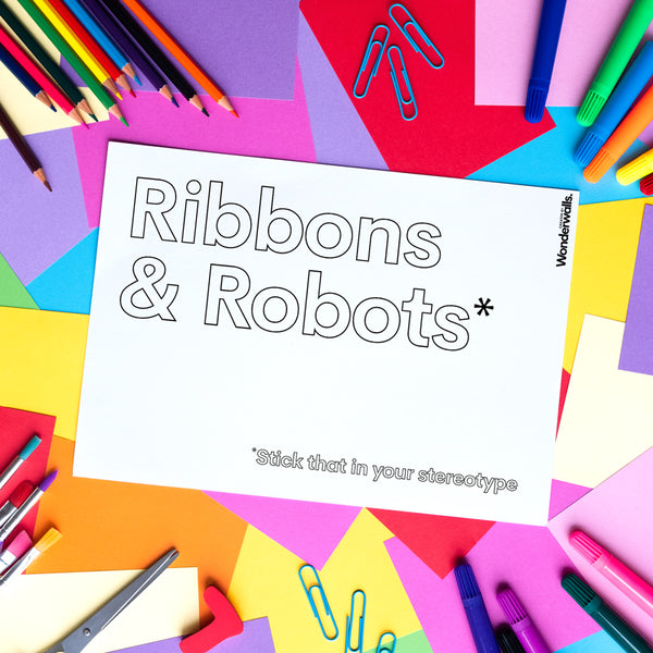 Ribbons & Robots (colouring sheet)