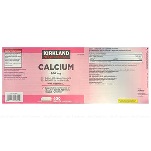 Kirkland Signature Calcium 600mg Vitamin D3 600 Coated Caps
