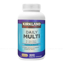Load image into Gallery viewer, Kirkland Signature Daily Multi Vitamins & Minerals Nutritional Health 500 Caps