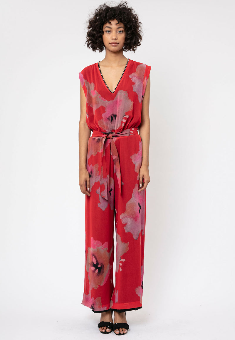 RELIGION Glory All Over Print Red Jumpsuit