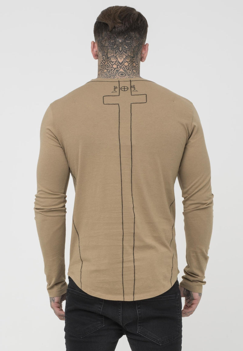 RELIGION Plain Longline Slim Fit Camel T-Shirt