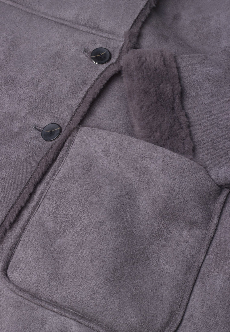 RELIGION Relativity Fur Collar Brindle Grey Coat