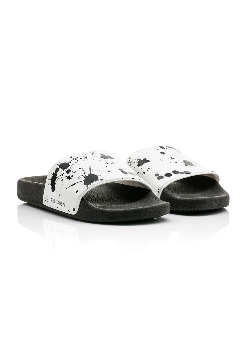 RELIGION Paint Splat Sliders in White