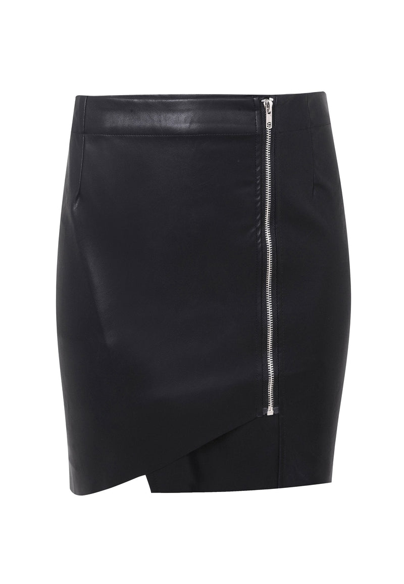 RELIGION Steel Asymmetric Faux Leather Skirt