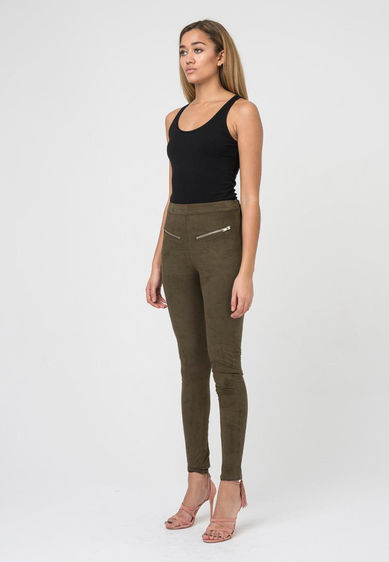 RELIGION Copper Leggings Avocado Faux Suede