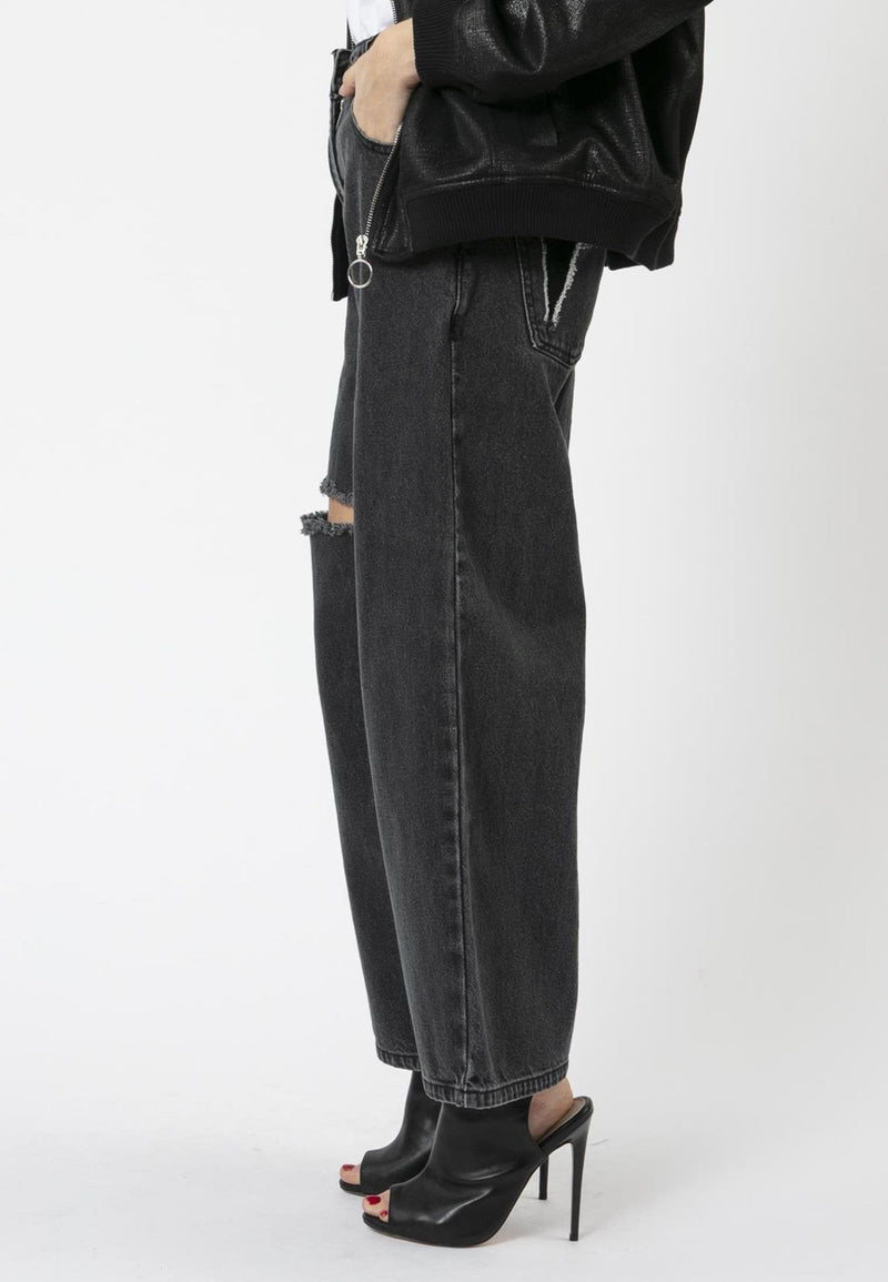 RELIGION Capricorn Black Wide-Leg Jeans