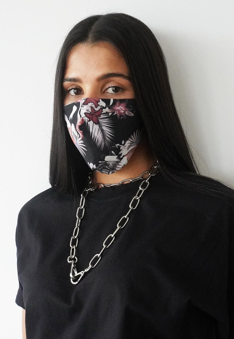 RELIGION Face Mask Dark Exotic Print