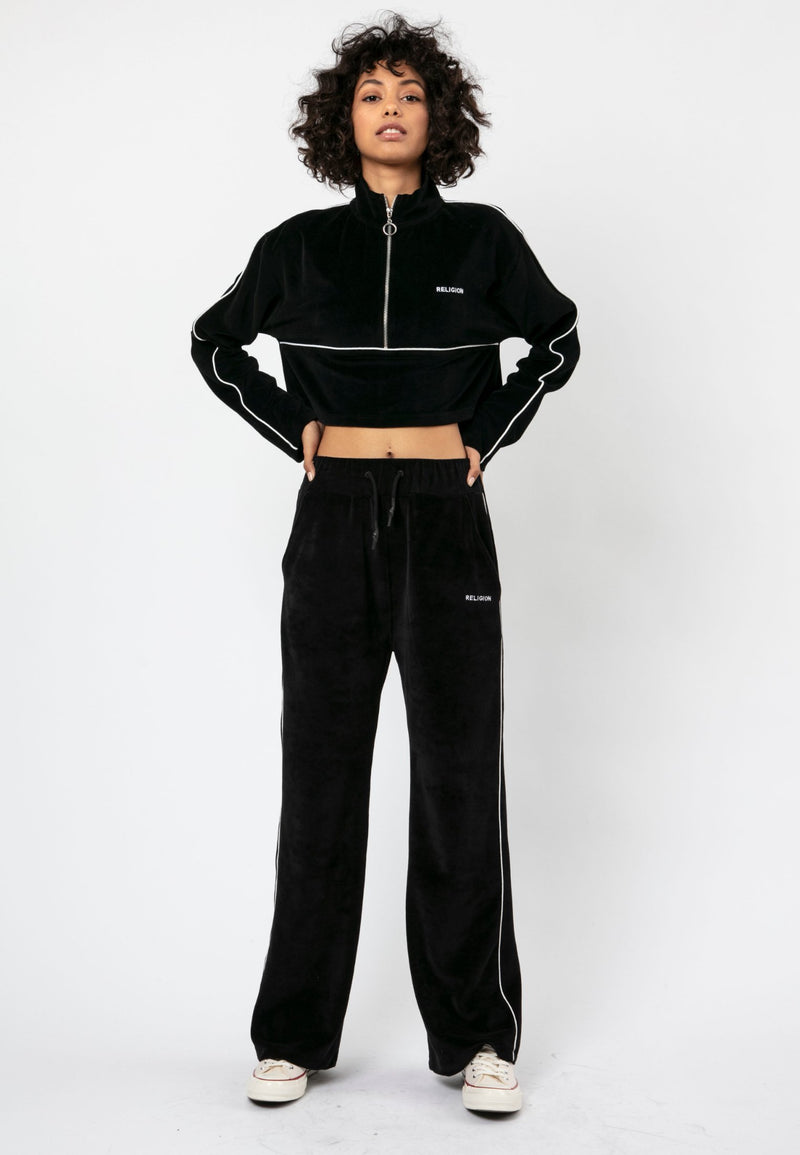 RELIGION Content Black Cropped Track Top