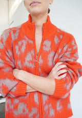 RELIGION Maximum Animal Print Red Cardigan