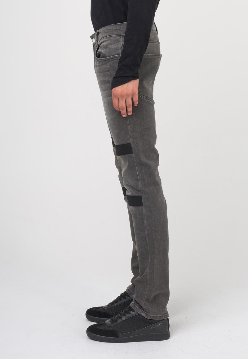 RELIGION Clash Slim Fit Jeans with Stripes Raven