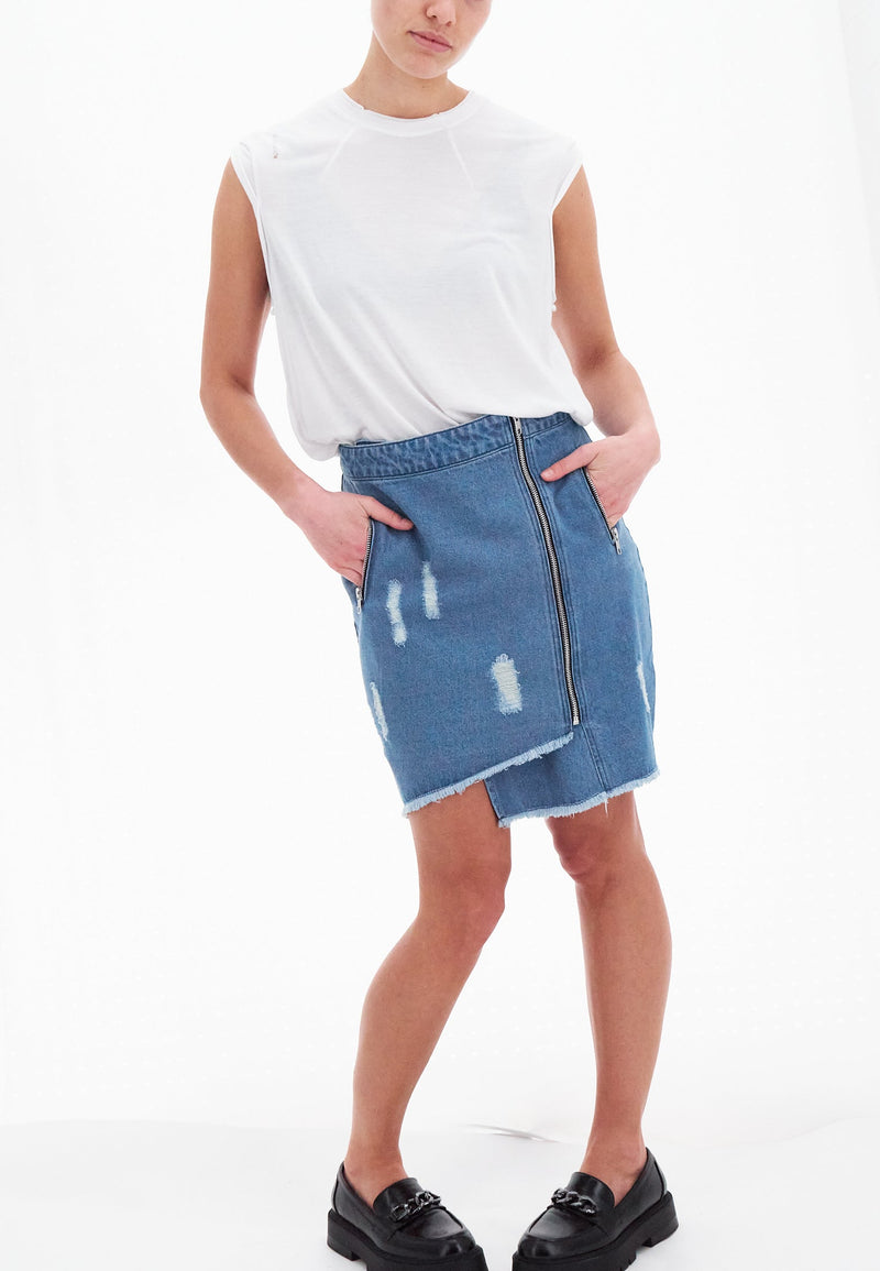 AQUARIUS SKIRT INDIGO WASH