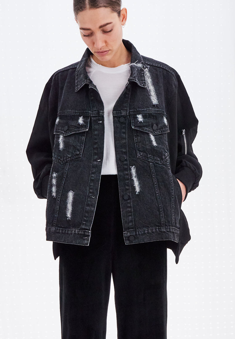 CAPRICORN DENIM JACKET WASHED BLACK