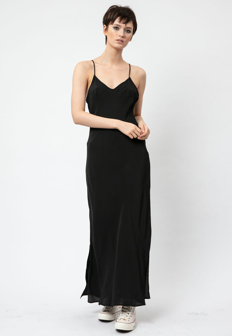 RELIGION Streak Black Vegan Silk Maxi Dress