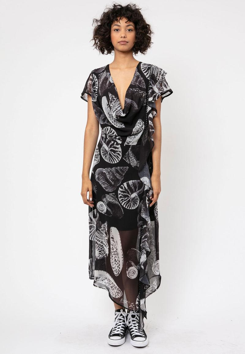 RELIGION Titan Frame Print Midi Dress