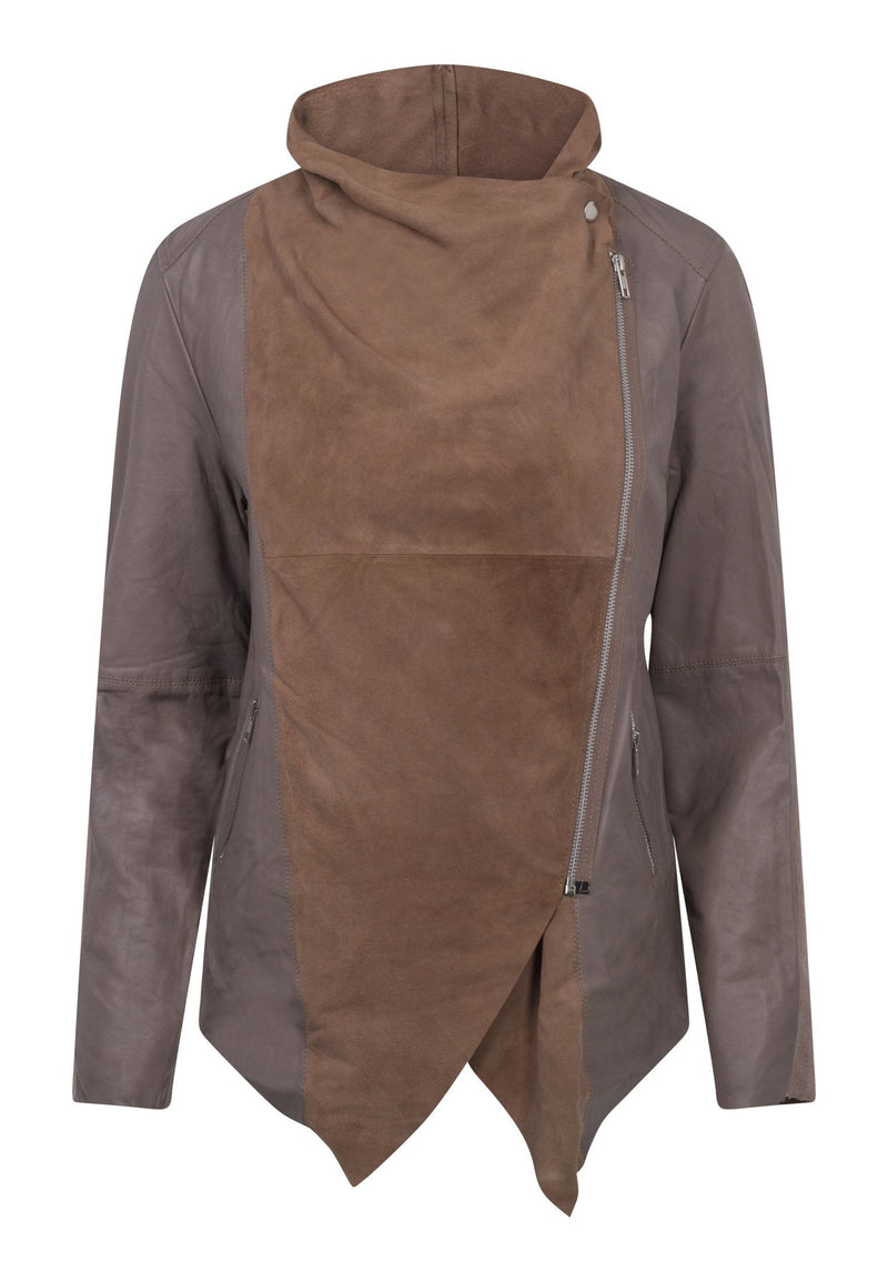 RELIGION Publicised Leather Jacket Taupe